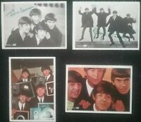 4 ICONIC SMALL BEATLES CARD PHOTO'S ,  2 with PRINTED AUTOGRAPHS , REPRODUCTION