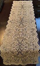 227 Heritage Lace Polyester Rectangular White Medallion Runner 14 x 90