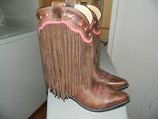 Smokey Mountain Leather Ladies Cowboy Boots with Fringe