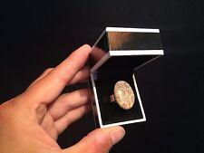 Bague femme réglable Argent 925 Corail fossile poli du Maroc /Coral fossil ring!