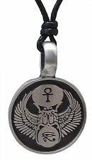 Pewter EGYPTIAN Pendant on Black Cord Necklace Nickel Free Horus Ankh Phoenix