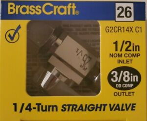 """(6) BRASSCRAFT 1/2"""" x 3/8"""" Brass Straight Shut Off Compression new G2CR14X C1"""