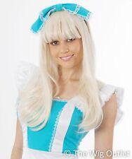 Alice in Wonderland Style Long Blonde Costume Wig Fancy Dress Party Womens New