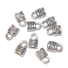 M7141 Antiqued Silver 6mm Oval Cord End Cap with Loop Metal Componet 10pc