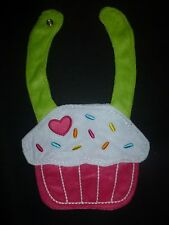 NEW Carter's Pink Birthday Cupcake Baby Girl Terry Cloth Teething Drool Bib