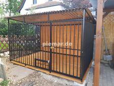 Hundezwinger Hundekäfig 4x2x1,75 m mit Holzboden und Holzwand | inkl. Aufbau