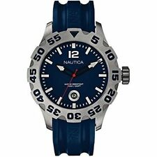 New Nautica BFD 100 Diver Blue Rubber Date Men Oversize Watch 50mm N14615G $145