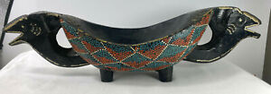 Primitive Tribal Oceanic Vintage Carved Footed Ceremonial Bowl Dot Painting
