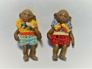 Uralt 2x Porzellan Affe Äffchen Puppe für Puppenstube um 1920 Rarität Selten Top