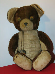 """VINTAGE ANTIQUE WELL LOVED TEDDY BEAR STANDS 18"""" TALL"""