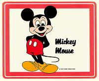 2 Vtg Large 1970s Mickey Mouse Walt Disney Productions Vinyl Red Sticker New NOS