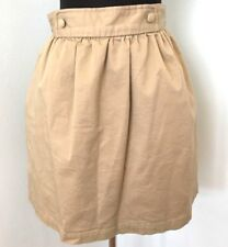 Walter Skirt 8 Khaki Beige A-line Pockets Lined Button Detail Above Knee Cotton
