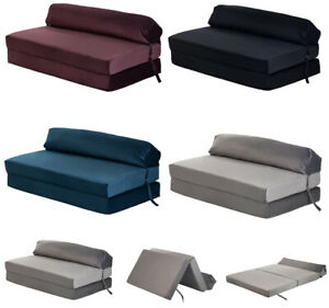 Velvet Z Bed Double Size Fold out Chair Bed Sofa Seat Foam Folding Chair Futon