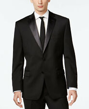 $799 CALVIN KLEIN Mens Slim Fit Wool Tuxedo Black TWO BUTTON SUIT JACKET 36 R