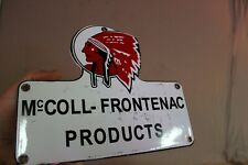 RED INDIAN MCcOLL-FRONTENAC PORCELAIN METAL SIGN GAS OIL CAR SERVICE MAN FARM 66