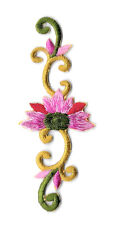 Flower Strip - Pink W/Red Flower - Green & Gold Vine - Embroidered Iron On Patch