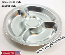 4 Divided Stainless Steel Round Food Tray Food Control Snack small pu pu platter