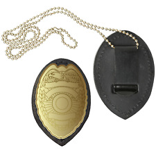 Black Genuine Leather Clip-On Shield Style Badge Belt Clip Neck Chain