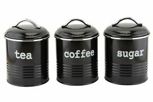 Set of 3 Airtight Tea Sugar and Coffee Storage Canister Jars, Black