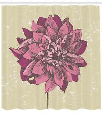 Vintage Dahlia Flower with Grunge Background Boho Pattern Shower Curtain Set