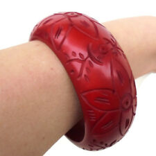 Red Lucite Carved Bangle with Floral Design/Chunky Red Lucite Carved Bangle.