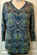 Talbots womens casual 3/4 sleeve blouse 1/2 button multi-color paisley S