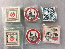 Vtg Paper Drink Coaster Lot Steam Engine Hi-Brow Blue Leaves Country Christmas
