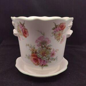 Royal Winton Large Plant Pot Planter & Saucer Pink and White Rose Floral Design