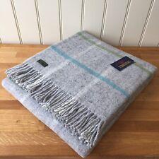 TWEEDMILL Pure New Wool Throw WINDOWPANE STONE British Blanket Rug Sofa