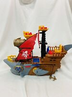 """2015 Fisher-Price Imaginext Shark Bite Pirate Ship Boat Toy 18"""" Long No Missiles"""