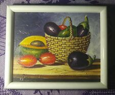 Original OIL Painting - Still life vegetables and market basket  by Lucas pena