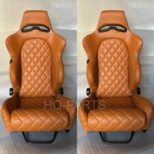 2 X TANAKA TAN PVC LEATHER RACING SEATS RECLINABLE + DIAMOND STITCH FITS BMW