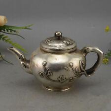 Antique china Tibetan silver QIANLONG plum blossom teapot wine pot flagon