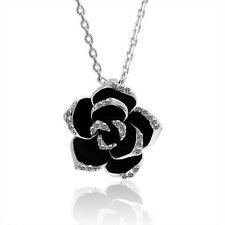 Damen Blume Halskette Zirkonia Anhänger Schmuck Strass 18K Weiss Gold pl. Ø 25