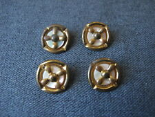 New listing 4 Vintage mother of pearl Mop & goldtone metal flower buttons 30e