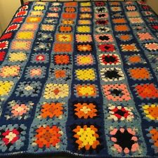Beautiful X Large Hand Made Afghan! Colorful Granny Squares 72� X 54�