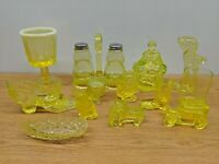 HUGE LOT OF VINTAGE YELLOW VASELINE GLASS MOSSER BOYD SALT PEPPER HORSE FISH CAT