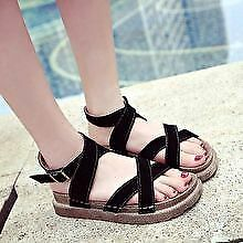 Khoee 1710 Women's Fontenay Flat Sandals with Adjustable Ankle Strap (black)