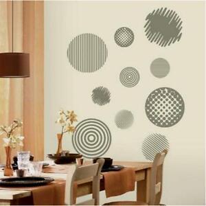 GEOMETRIC CIRCLES Metallic Modern Abstract Stripes Dots Wall Decal Sticker Decor