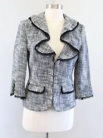 White House Black Market Tweed Ruffle Lapel Mesh Trim Blazer Jacket Size 4
