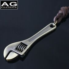 """Mini wrench adjustable brass pendant 26"""" brown leather necklace Us Seller"""