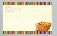 12 Longaberger Fruit in Basket Multi Stripe Border Recipe Cards 4 x 6 in zip bag