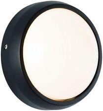 Round Bulkhead Light Black Aluminium Ceiling Outdoor Wall Light IP44