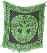 "Tree of Life Altar / Tarot Cloth 18"" x 18"" Green with Fringe (NEW, Wicca Pagan)"