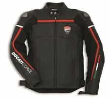 BLACK DUCATI RACING  MOTORBIKE  LEATHER JACKET CE APPROVED