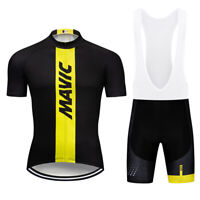 Mens Pro Cycling Jersey Bib Shorts Sets Summer Short Sleeve Gel Pad Strap Shorts
