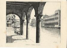 Stampa antica VENEZIA Fondaco dei Turchi 1892 Old antique print VENICE