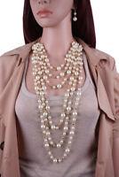 Fashion Women Jewelry Chain Pearl Choker Necklace Hook Earring Jewelry Set