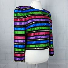 Maggy London Womens Size 10 Blazer Multi Color Ribbon Embellishment Long Sleeve