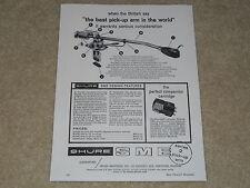 Shure SME Tonearm 1963 Ad, 1 page, Articles, Info, Specs, Rare Ad!